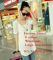 Factory direct sale 2015 new women's big yards hubble-bubble sleeve Chiffon shirt Fashion T-shirt wholesale 9 colors