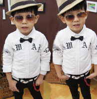 wholesale(5pcs/lot)-2015 spring new letter eyes bow shirt for 2-7 child boy