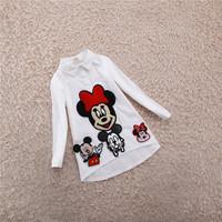 wholesale(5pcs/lot)-2015 spring cartoon button shirt for 2-7 child girl
