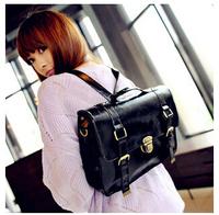 2015 new fashion students backpack doctor messenger vintage Japanese female backpack of England PU leather