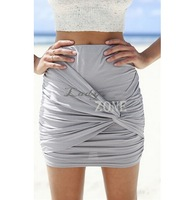 New Fashion Draped Women Summer Mini Skirts Casual Bandage Pencil Skirt Ladies Pleat Slim High Waist Skirts Saia Female b6