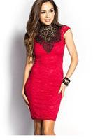 vestido de noite 2015 girls pageant party dresses roupas femininas Red High Neck Open Back Lace Vintage Bodycon Dress LC21873