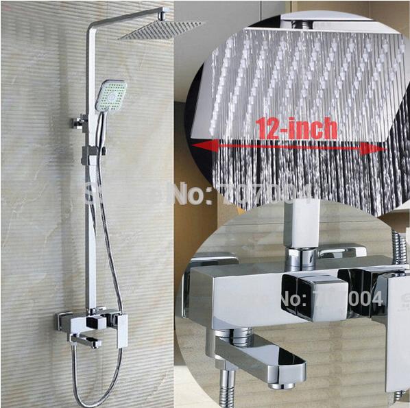 "Chrome Finished Wall Mount 12"" Big Rain Shower Set Mixer Faucet Bathroom Adjust Height Handheld Shower Bathtub Mixer Tap(China (Mainland))"