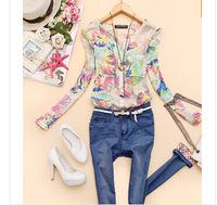 Year is not closing 2015 v-neck Spring New chiffon Women blouses flower printed shirts women clothing blusas femininas