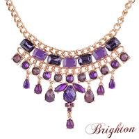 Fashion shiny gold plated charm crystal chunky pendant women statement choker maxi necklaces brand jewelry