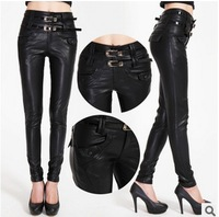 2015 New Spring Brand high quality  PU Pants Women Plus size 3XL winter Tall waist locomotive leather render pencil trousers