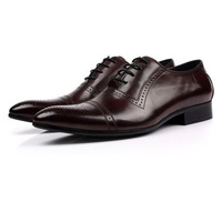 EU38-44 2015 new genuine leather men's shoes casual lace-up breathable pointed toe wedding party dress office shoes