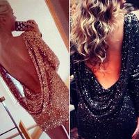 New Fashion Sexy Ladies'nightclub sequined dress  halter dress star models big U -neck dress 0925