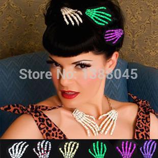 New Women Girl 2pcs Halloween Party Zombie Skull Skeleton Hand Bone Claw Hairpin Punk Hair Clip(China (Mainland))