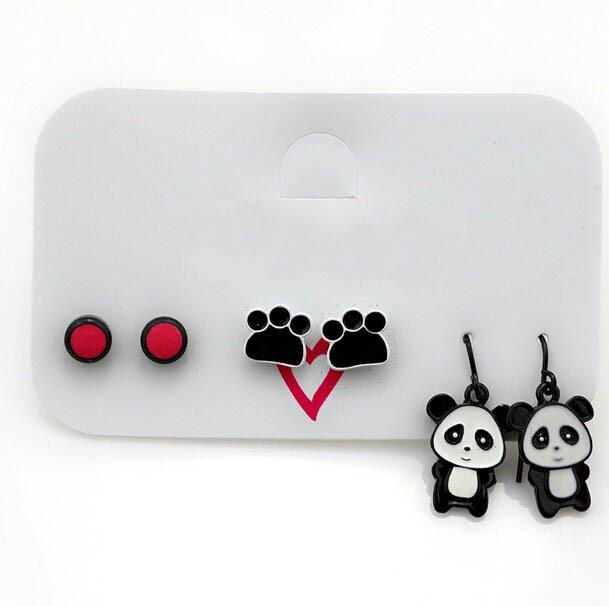 women girls brand design animal panda lovely footprint metal red stone multiple earring set