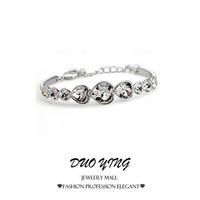 2015 Rock Long New Arrival  Lovely Gift Tin Alloy  Rhinestone Crystal Heart Beacelets For Women  pulseira pulseras