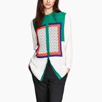 2015 loose shirt printed Shirt Women's Long sleeve Casual White Green High Qulity Blouse geometic Slim Fashion Ladies Shirt