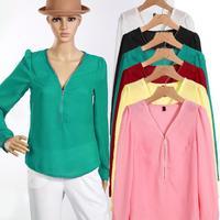 S-2XL New fashion female Formal Brand shirts sexy long sleeve chiffon elegant V-neck casual t-shirt camisas tops  LJ021XGJ