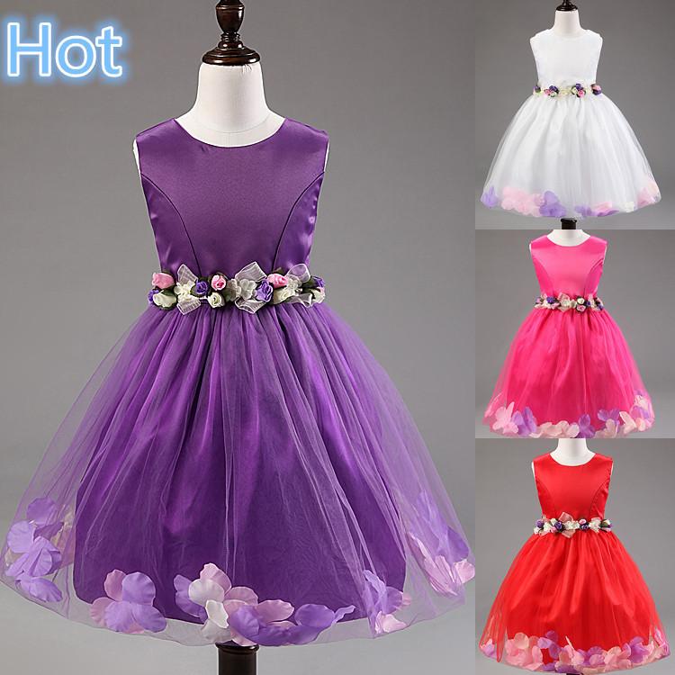 High quality,Flower girl dresses Children dresses Kids wedding party dress baby girls' dresses white size 2-8 years(China (Mainland))