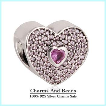 2015 новый стерлингового серебра 925 любовь сердца прелести проложить игристые розовый ...