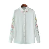 Newest Women Shirt  Beading Turn-down Collar Floral Print Long Sleeve Blouses Women Clothing  Chiffon Blouse Ladies Tops WSH050
