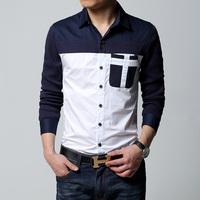 Men long sleeve shirt casual slim fit cotton Male navy white Shirt man Men dress shirts Men big size 6xl plus size 2015 on sale