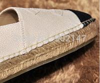 Newest Platform Espadrilles Crackle shoes CC  Woman's shoes Upgrade straw braid genuine leather shoes Comfortable flat shoes