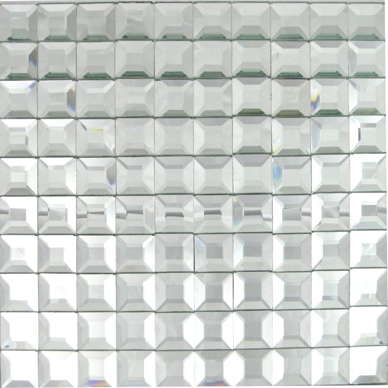 Blanc argent carreaux de verre biseaut miroir carreaux de for Carreaux de verre salle de bain
