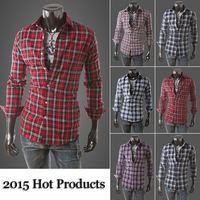 2015 Amrican size  Men long sleeve  Lapel Plaid Shirts Men's Casual Slim Fit Cotton Shirt for Male Mens Dress Shirts6016