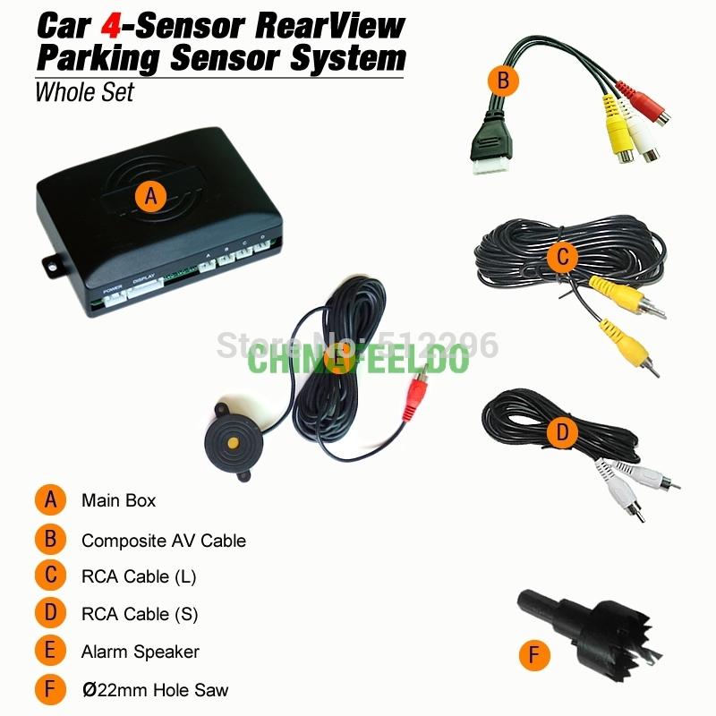 Car Rearview Parking Sensor + License Plate Camera Video Reverse Parking Sensor System #J-1550(China (Mainland))