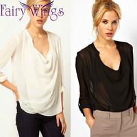 Blusas Femininas Women Elegant Chiffon Long Sleeve OL Sexy Loose Women Blouses Shirt Casual Loose 2015 Spring Tops PH3017