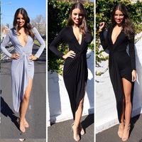 2015 New Elegant Blue Black Women Asymmetric Deep V-neck Long sleeve Cotton Sexy Party Club Spring Casual Fashion Desigual Dress
