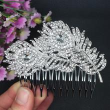 Vintage Style Wedding Bridal Hair Comb Wedding Hair Accessories Crystal Hiar Comb Peacock Feathers Comb Bridal