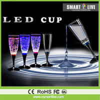 6PCS Liquid active PS LED Champagne Glass Inductive rainbow Color Cup LED Drinkware Glass Cup Goblet For Party/Wedding 6 color