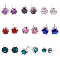 Wedding Dazzling Style Unisex Forever Love White Topaz Multi-Color 925 Stud Silver Earrings New Jewelry Free Shipping Wholesale