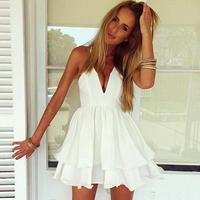 2015 summer new arrival Fashion Women Female Dresses Summer Women Sexy White Rose Chiffon Spaghetti Strap Dress