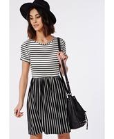 Ultra Comfy Modal Black And White Striped Knee-length Elastic Waist Women Summer Casual Skater Dress 2015 Latest New