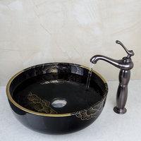 Bathroom Black Ceramic Washbasin Sink&Oil Rubbed Bronze Faucet Mixer Tap Bathroom Sinks Set 460397040
