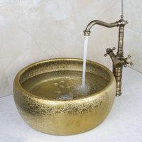 Round Paint Golden Bowl Sinks / Vessel Basins With Washbasin Ceramic Basin Sink & Antique Brass Faucet Tap Set 46048631