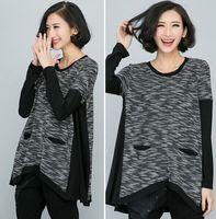 XL-4XL Plus size Women Clothing Irregular Knit Loose Casual T shirt 2015 Spring Long Sleeve Big size Black T-shirts Tops XXXXL