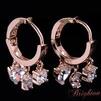 Trendy Chic Women Silver Plated Round Shape Clip Earrings Swiss CZ Diamond Earrings Jewelry for women