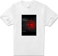 Game of Thrones Mens Clothing T-Shirts House Targaryen Dragon Unisex Women Cotton short Sleeve White XXL Top T Shirt