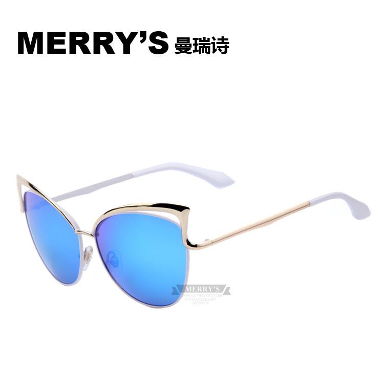 2015 MERRY'S Metal Frame Dita Sexy Cat Eye Sunglasses for Women Coating Brand vintage sunglasses female oculos de grau femininos(China (Mainland))