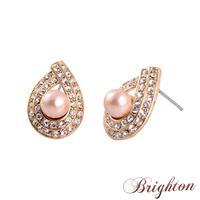 Trendy Women Romantic Simple Drop Water Shaped Crystal Simulated Diamond Pink Pearl Statement Stud Earrings Jewelry
