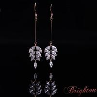 New Fashion Women Luxury Silver Plated Dangle Earrings AAA Zircon Crystal Statement Long Earrings Jewelry For women