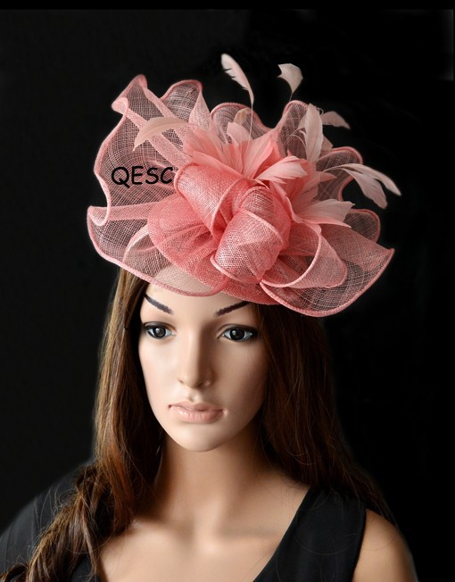 LT PINK big sinamay fascinator for kentucky derby wedding,ascot races,melbourne cup.(China (Mainland))
