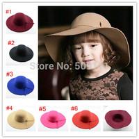 2015 Vintage Retro Kids Child Girl Hats Wool Felt Crushable Wide Large Brim Floppy Cloche Casual Fedora Cap Gift 1pc BH253