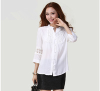 Free Shipping Spring Fat ladies woman 2015  v-neck White  shirt ,women's blouse with lace and Cut out  L XL 2XL 3XL 4XL 5XL