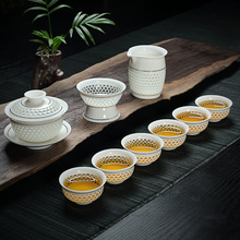 9pcs,1teapot+1gaiwan+1tea strainer+6teacups,Korean style Jingdezhen ceramic tea set japanese bone china tea set coffee tea set