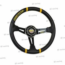 MOMO New 350mm Racing Sport PVC MOMO Steering Wheel(black-yellow/black-red)(China (Mainland))