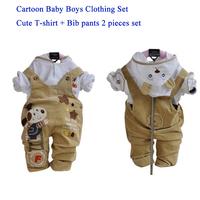 2015 Spring Baby Clothing Sets Newborn Baby Boys Cotton T-shirt+Jeans Bib Pants 2PC Set Boys Clothing for 0--2 years
