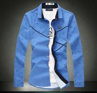 Dress shirts Long sleeve shirt 2015 Casual men's slim shirt British style Leisure shirt male cotton Plaid anchor print Plus size