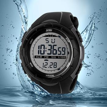 Skmei марка мужчины из светодиодов цифровые часы военная погружение плавать спортивные часы мода водонепроницаемые платье наручные часы orologio uomo