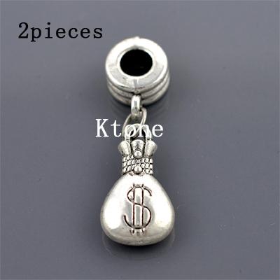 2 Pieces lot 2015 New Arrival 925 Silver Beads vintage moneybag Pendant Fit Pandora Charms Bracelets