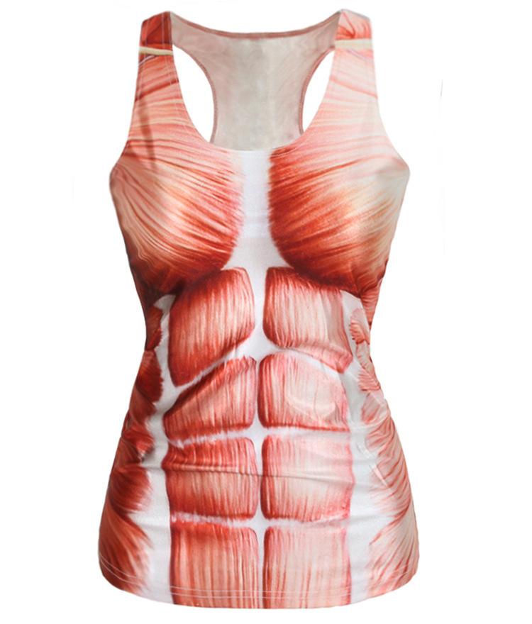 2015 summer muscle print new women t-shirt 3D printed women's clothing sexy ladies tank tops women clothing red women tanktop(China (Mainland))